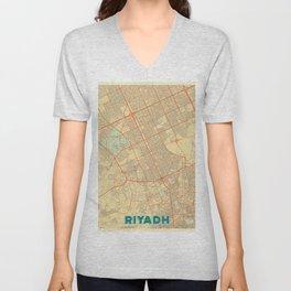 Riyadh Map Retro Unisex V-Neck
