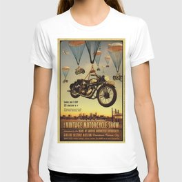 Vintage Motorcycle Show Parachute Advertising Poster T-shirt
