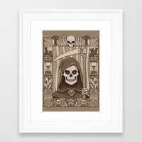 discworld Framed Art Prints featuring COWER BRIEF MORTALS by Doodle Dojo