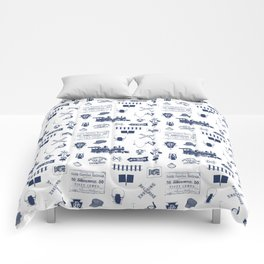 Railroad Symbols // Navy Blue Comforters