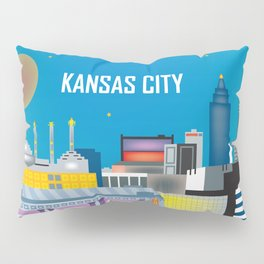 Kansas City, Missouri - Skyline Illustration by Loose Petals Pillow Sham