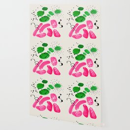 Fun Mid Century Modern Abstract Minimalist Vintage Pink Green Color Harmony Organic Shapes Wallpaper