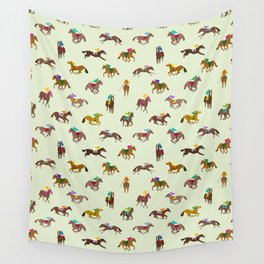 Off to the Horse Races (Mint) Wall Tapestry
