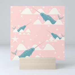 narwhal in ocean pink Mini Art Print