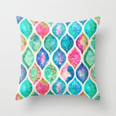Watercolor Ogee Patchwork Pattern Throw Pillow