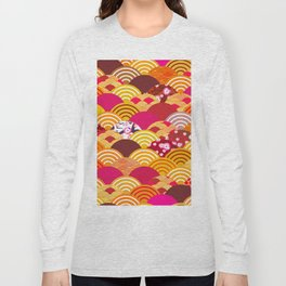 pattern scales simple Nature background with japanese sakura flower, rosy pink Cherry, wave Long Sleeve T-shirt