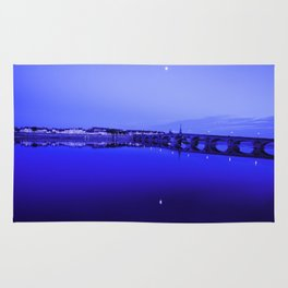 France landscape, Amboise, Loire valley, dusk, reflection, river, blue Rug