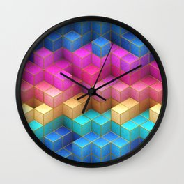 Cubed Rainbow Wall Clock