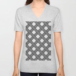 Diagonal Black and White Stripes Grid Lattice Pattern, Minimal Graphic Design Unisex V-Neck