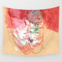 shoes Wall Tapestries featuring red shoes by Sabine Israel