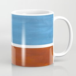 Antique Pastel Blue Brown Mid Century Modern Abstract Minimalist Rothko Color Field Squares Coffee Mug