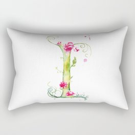 Letter I watercolor - Watercolor Monogram - Watercolor typography - Floral lettering Rectangular Pillow