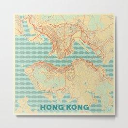 Hong Kong Map Retro Metal Print