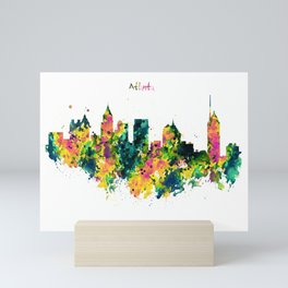 Atlanta Watercolor Skyline Mini Art Print