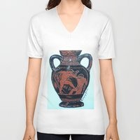 greek V-neck T-shirts featuring Greek Amphora by Romantique Jardin