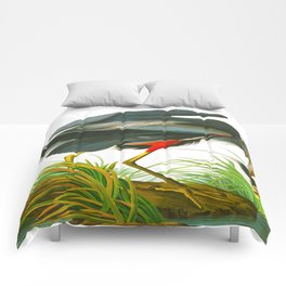 Great blue heron John James Audubon Vintage Scientific Bird Illustration Comforters