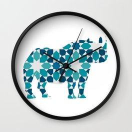 RHINO SILHOUETTE WITH PATTERN Wall Clock
