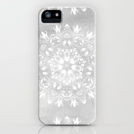 white on gray mandala design iPhone Case