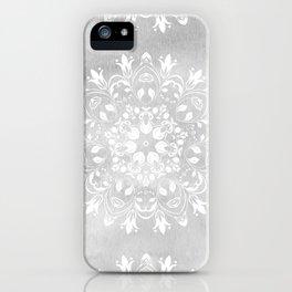 white on gray mandala design iPhone Case