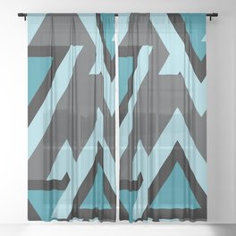 Triangels turquoise pattern geometric Sheer Curtain