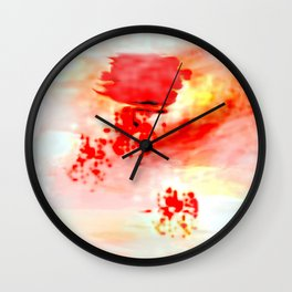 Red Dawning of a Long Journey Abstract Wall Clock