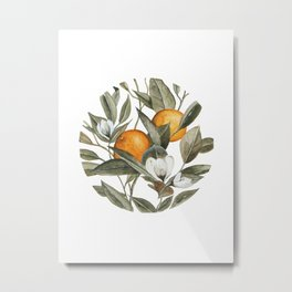 Blooming Citrus Watercolor Metal Print