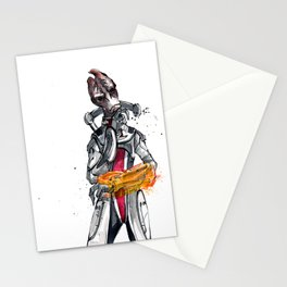 Mordin from Mass Effect sumi style with calligraphy Stationery Cards