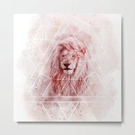 Sacred Majestic Red Lion Spirit Animal Metal Print