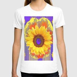 Yellow Sunflowers & Lilac Purple Patterns T-shirt