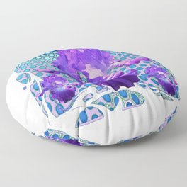 MODERNISTIC LILAC PURPLE IRIS BABY BLUE ART Floor Pillow