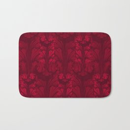 Burgundy Red Classic Acanthus Leaves Pattern Bath Mat