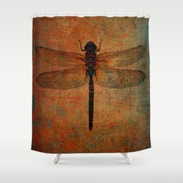 Dragonfly On Orange and Green Background Shower Curtain