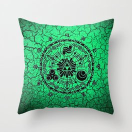 Green Circle Of Triangle Throw Pillow