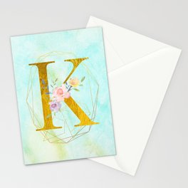 Gold Foil Alphabet Letter K Initials Monogram Frame with a Gold Geometric Wreath Stationery Cards