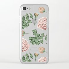 Flower Shop Roses on Blush Pink Clear iPhone Case
