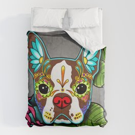 Boston Terrier in Red - Day of the Dead Sugar Skull Dog Comforters
