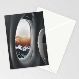 snowy mountains from a plane window Stationery Cards