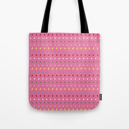 Shimmering colorful sprinkles pattern aligned on pink background Tote Bag