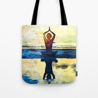 yoga Tote Bags featuring yoga by Chantale Roger