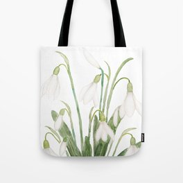 white snowdrop flower watercolor Tote Bag