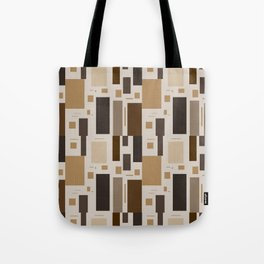 Retro Squares in Browns and Golds Tote Bag