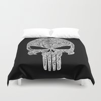 punisher Duvet Covers featuring Punisher  by christoph_loves_drawing