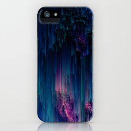Glitchy Night - Abstract Pixel Art iPhone Case