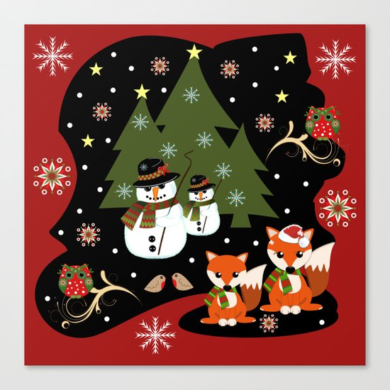 Christmas with owls, foxes and snowmen holidaze Canvas Print