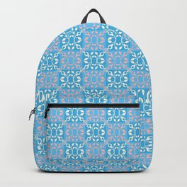 Vintage blue orange white geometrical damask Backpack