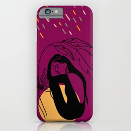 Girl under leaves hiding from rain iPhone Case