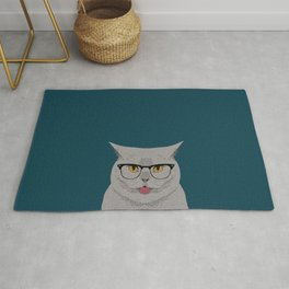 Kai - British shorthair cat gifts for cat lovers, cat lady gifts Cat people gifts, Hipster Glasses Rug