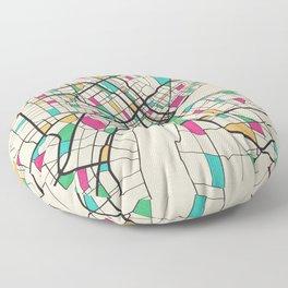 Colorful City Maps: Detroit, Michigan Floor Pillow