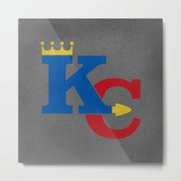 Kansas City Sports Red & Dark Blue Metal Print