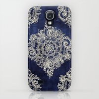 Samsung Galaxy S4 Case featuring Cream Floral Moroccan Pattern on Deep Indigo Ink by micklyn